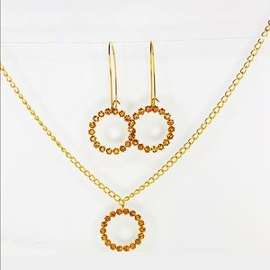 Brown Swarovski Matching Necklace and Earring Set